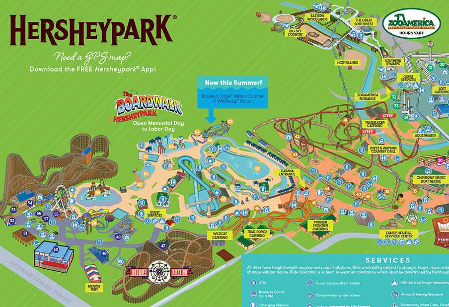 2018 Hersheypark Summer Season Map Hershey Park Summer