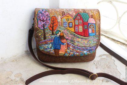 """Felted handbag / Войлочная сумка """"Долгие прогулки"""" — работа дня на Ярмарке Мастеров. Узнать цену и купить: http://www.livemaster.ru/devushkan #ярмаркамастеров #handmade #craft #design #fashion #style #handbag #felting #woolart #livemaster #ручнаяработа #хендмейд #валяние #войлок #сумка #мода #fall #autumn #осень"""