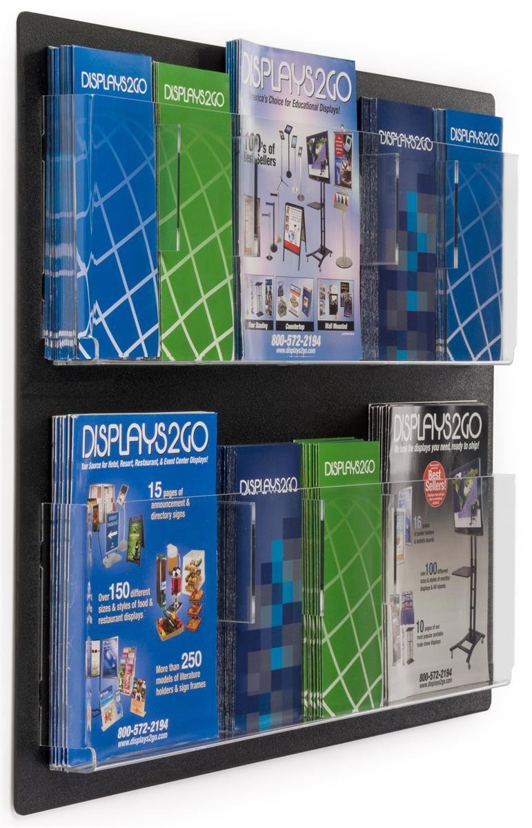 2 Tiered Acrylic Literature Wall Rack 4 8 5 W 6 12 Adjustable Pockets Black Brochure Holders Wall Racks Wall Mounted Table