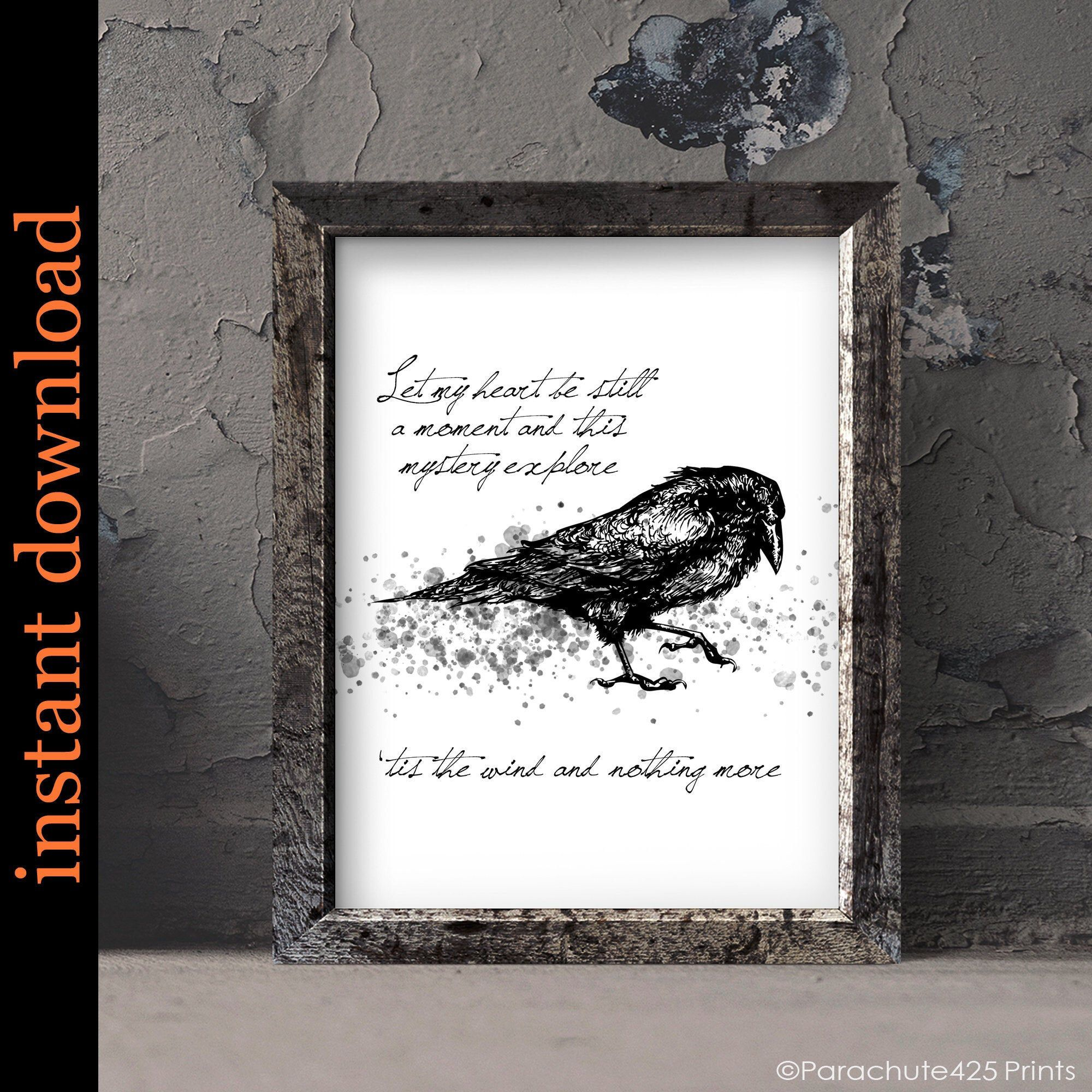 The Raven Quote Printable Edgar Allan Poe Quote Wall Art For Etsy Wall Art Quotes Macabre Art Printable Wall Art