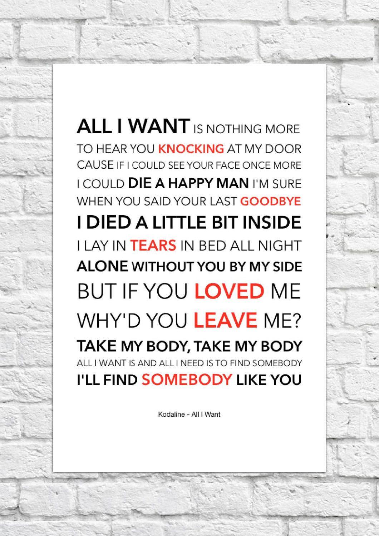 Kodaline All I Want Lyrical Song Art Poster Foo Fighters Lyrics Song Lyrics Art Foo Fighters Everlong