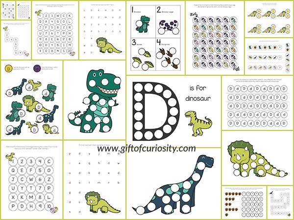 Dinosaurs Do-a-Dot Printables {free} Do A Dot, Dinosaur Theme Preschool,  Dinosaur Activities