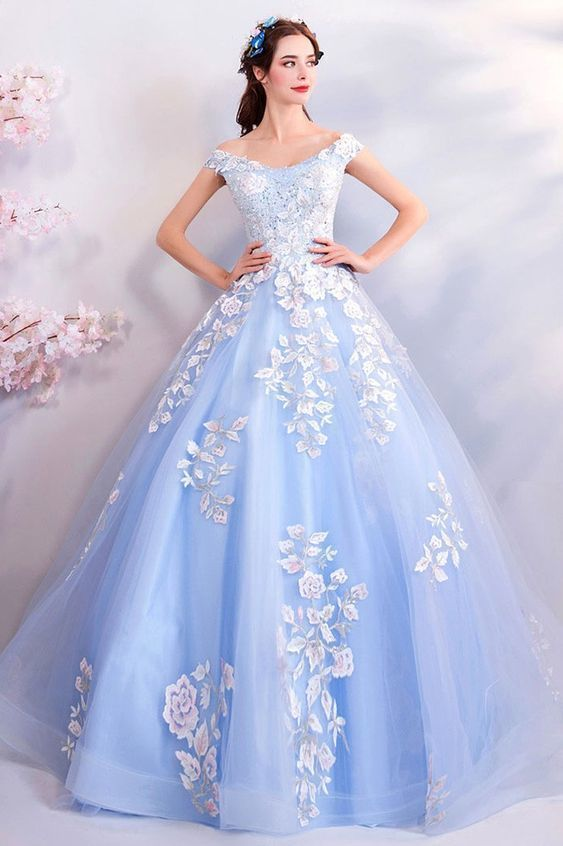 Light Blue Ball Gown Prom Dress Formal With Off Shoulder Flowers