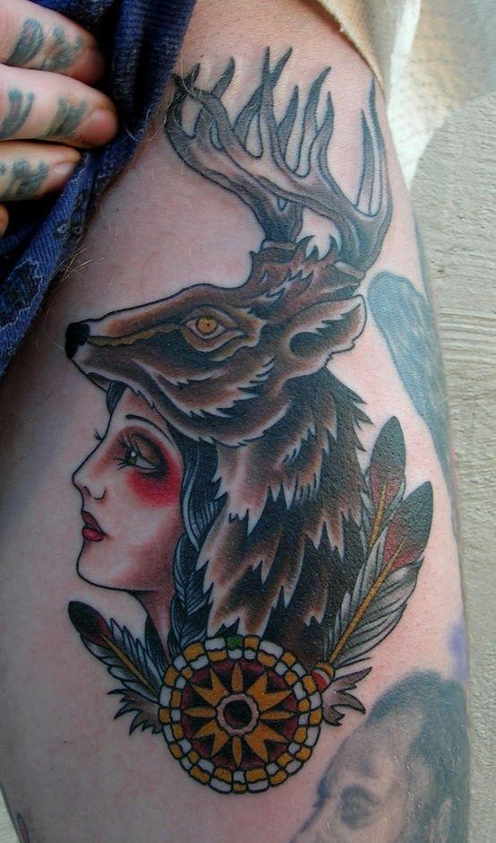 40bfc2e21b2a5 Native American Head Tattoos, Foot Tattoos, Sleeve Tattoos, Deer Head Tattoo,  Tatoos