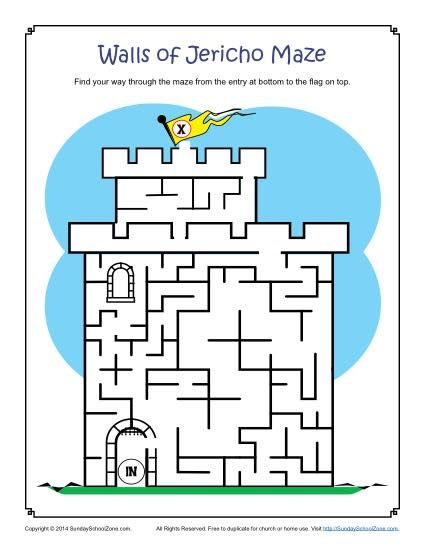 The Walls Of Jericho Maze Bible Activities For Kids Sunday