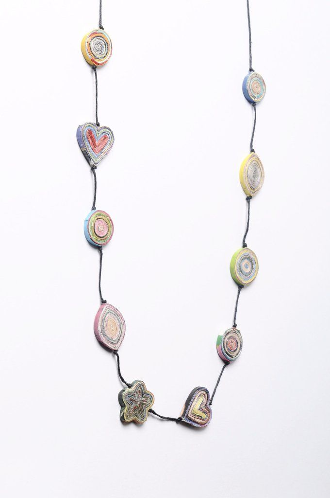 Upcycled Necklace paper mix  Mixed shapes of magazine paper necklace  upcycled jewelry - upcycled Necklace - recycled earrings- Paper beads necklace - flower necklace
