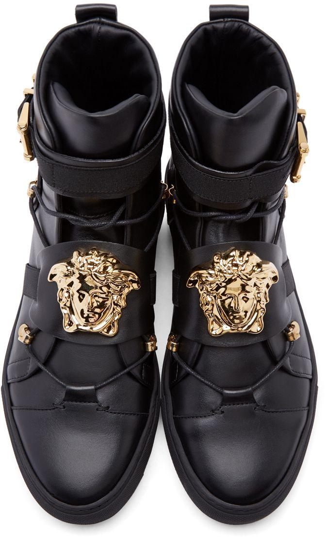 aea38ff7bc8 Versace  Black Leather Medusa High-Top Sneakers