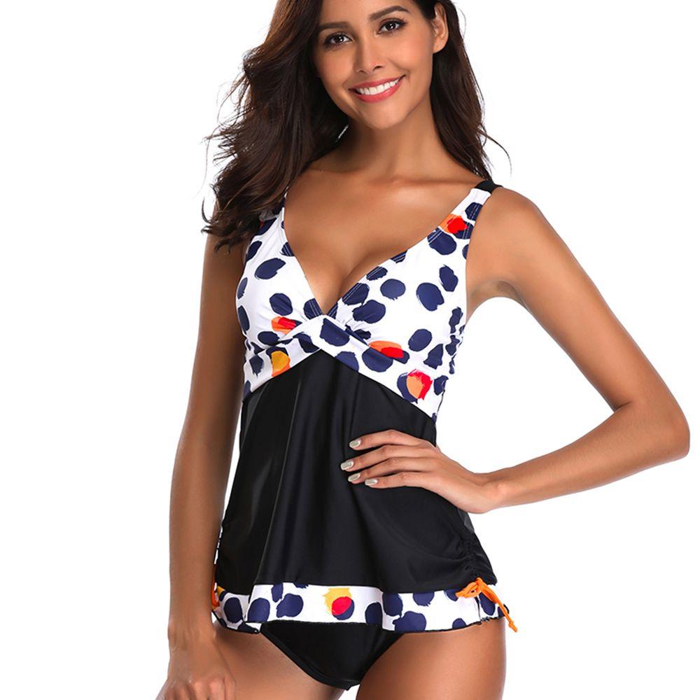 34fc302313645 Womens Push Up Padded Two Pieces Adjustable Tankini Bikini Plus Size Floral  Print Swimwear Swimsuit Beach
