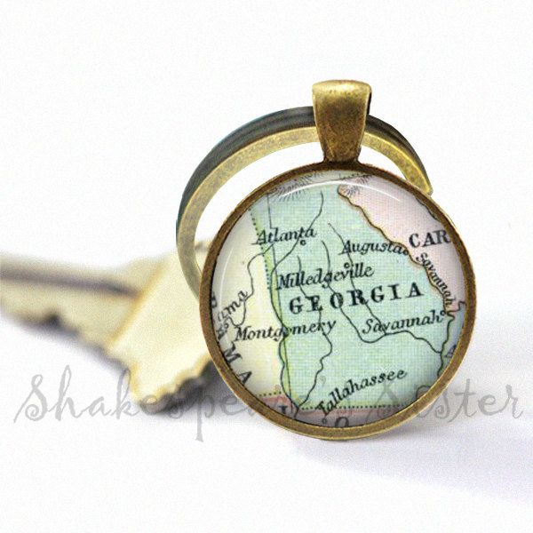 Georgia Keychain Georgia Map Key Chain Georgia Key Chain By - Georgia map key