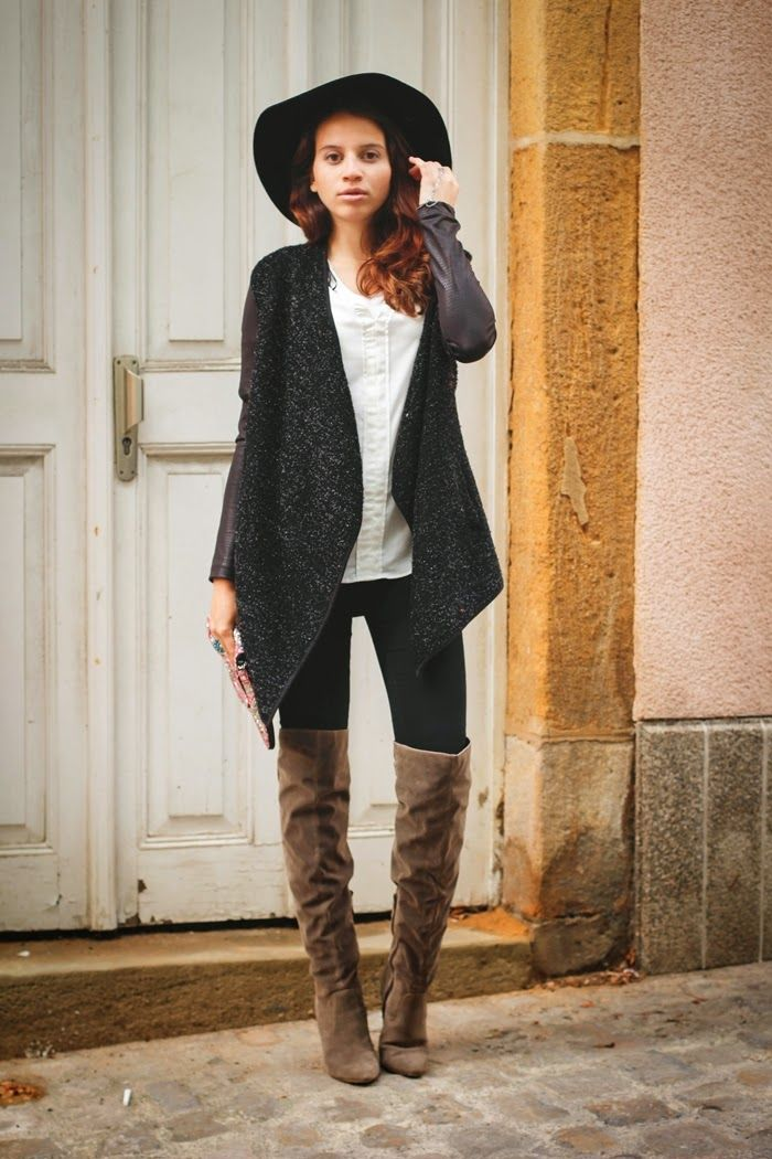 Women's Black Tweed Coat, White Silk Sleeveless Top, Black Skinny ...