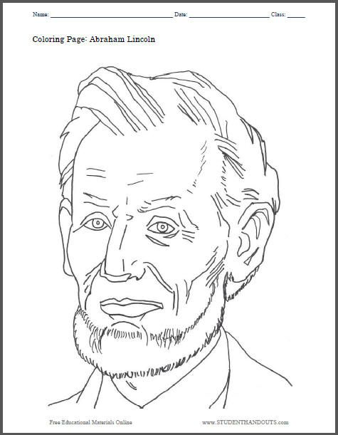 PRESIDENTS DAY Abraham Lincoln Coloring Sheet for Kids