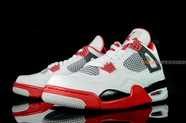 "0532d58504b117 Air Jordan 4 ""Fire Red"" White Fire Red-Black 308497-110 August 4 ..."