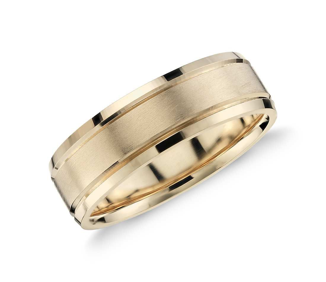 Brushed Inlay Wedding Ring In 14k Yellow Gold 5mm