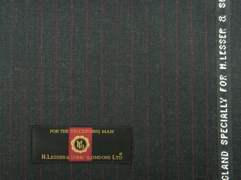 H.LESSER & SONS, VINTAGE CHARCOAL TWILL SUITING WITH RED PINSTRIPE, 3.5MTRS