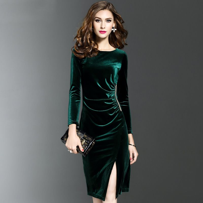 388b7264ea99 Cheap dresse, Buy Quality dresses evening dresses directly from China dress  jeans Suppliers: Burrima New Women Spring Long Sleeves Velvet Dress Office  Slim ...