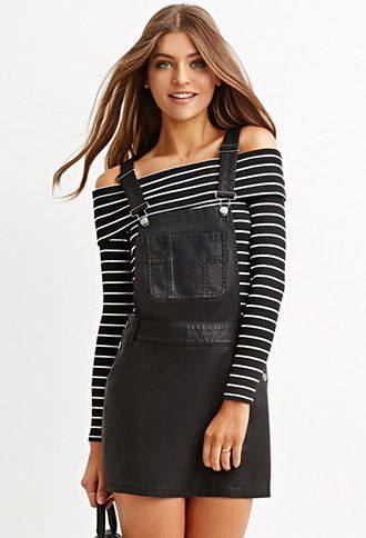 42812623d6ba Faux Leather Overall Dress