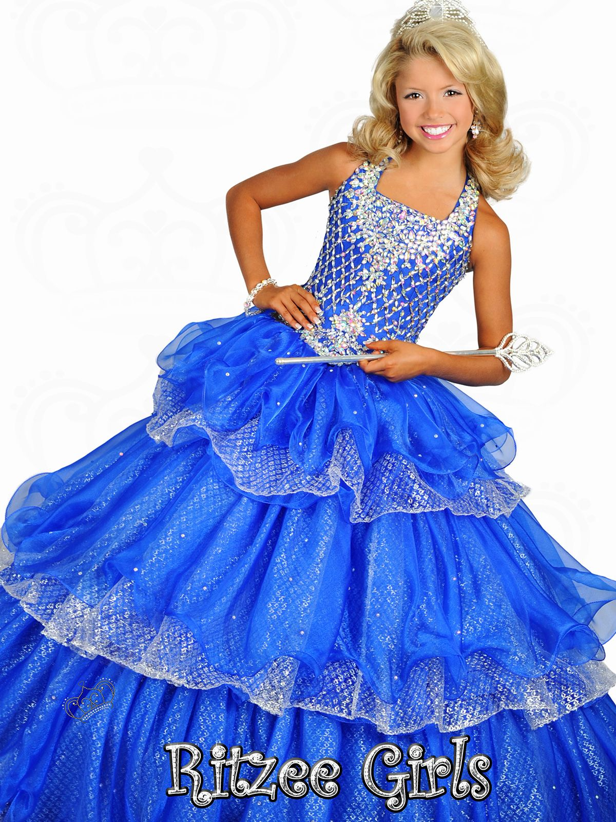 Halter Tiered Skirt Ritzee Girls Pageant Ball Gown 6676 ...