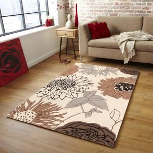 Designer Wool Rug Sunflower Cream Grey Brown 320x230cm Deals Direct Online Mobile