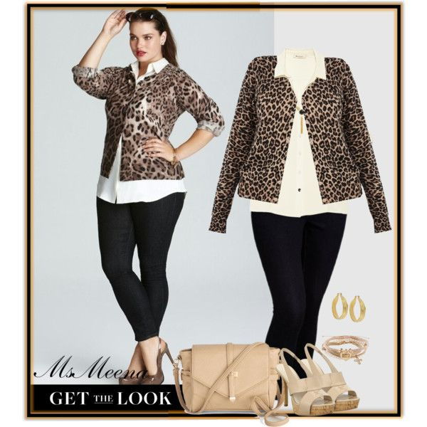 "Plus size ""Leopard , cream and jeans"" by msmeena on Polyvore ~     Oasis brown cardigan     $51houseoffraser.co.uk  Vince Camuto white button down shirt     $30vincecamuto.com Old Navy blue jeans     $35oldnavy.gap.co Nine west shoes     $40ninewest.com Antique purse     $50modcloth.com"