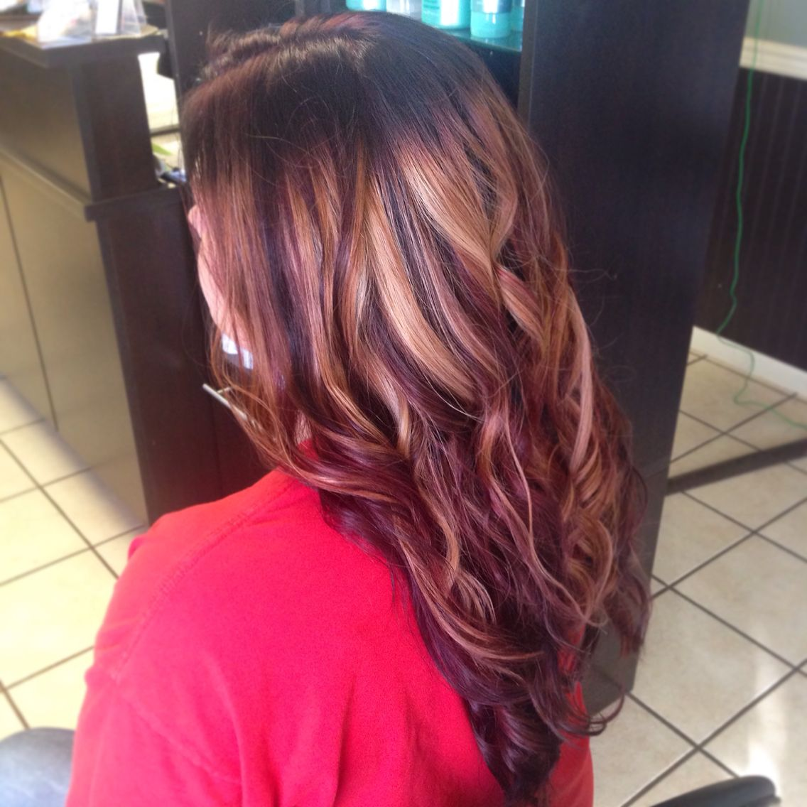 Blonde Red And Burgundy Brown With A Shadow Root Red