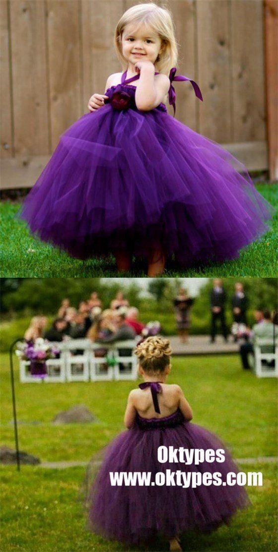 Purple Tulle Ball Gown Flower Girl Dresses, Simple Cheap Little Girl ...