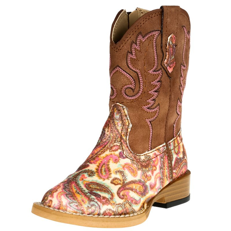 Roper Boys Girls Infants Kids CAMO Cowgirl Western Cowgirl Brown Boots