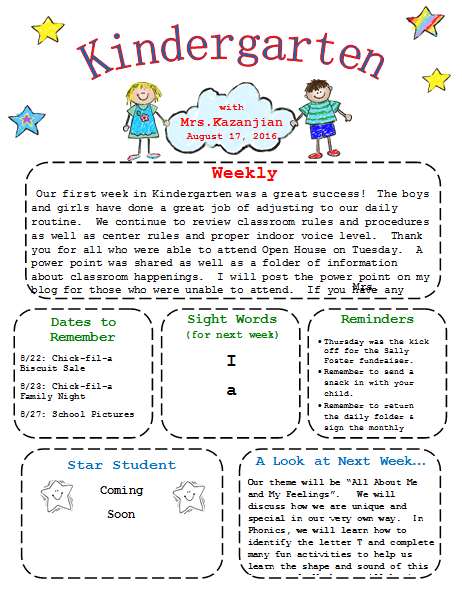 printable kindergarten newsletter template templates pinterest