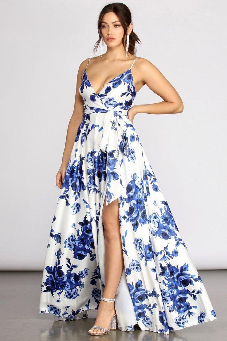 Brielle Formal Floral Satin Dress In 2021 Floral Satin Dress Satin Dresses Elegant Dresses For Women [ 1104 x 736 Pixel ]