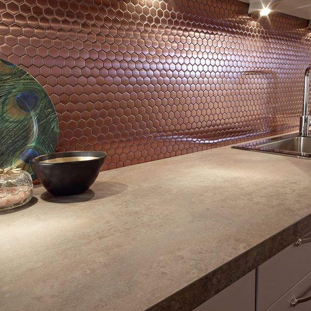 Mosaique Cuivre Hexagonale 30 X 30 Cm Kosuke Credence Cuisine Cuisine Cuivre Carrelage Cuisine