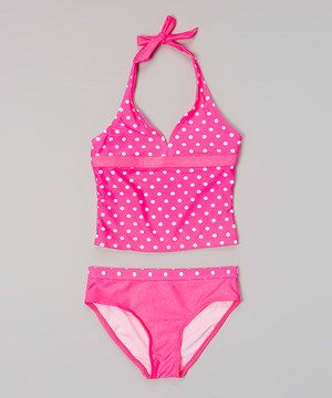 87b21801f4c95 Love this Hot Pink & White Polka Dot Tankini - Girls by Happy Kids for Kids  on #zulily! #zulilyfinds