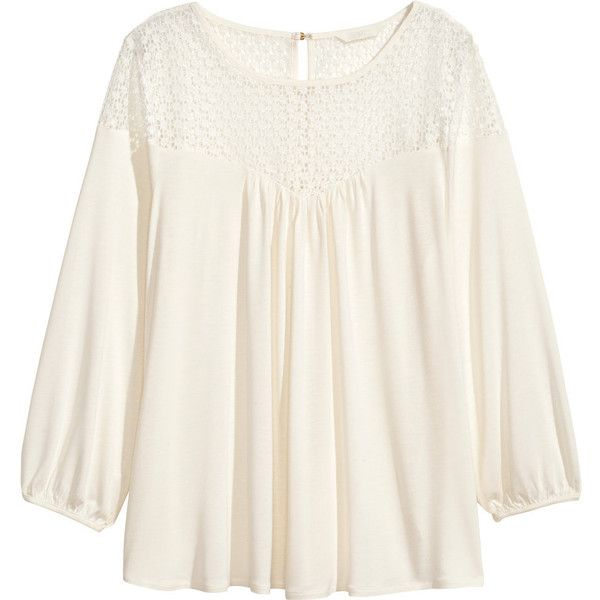 812c403b39f408 H&M Blouse with lace ($30) ❤ liked on Polyvore featuring tops, blouses,  white, long sleeve lace blouse, lacy white blouse, lacy blouses, h&m blouse  and h&m