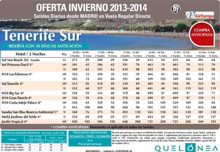 Oferta Noviembre - Enero Tenerife Sur desde 275 euros. Salidas desde Mad. - http://zocotours.com/oferta-noviembre-enero-tenerife-sur-desde-275-euros-salidas-desde-mad/