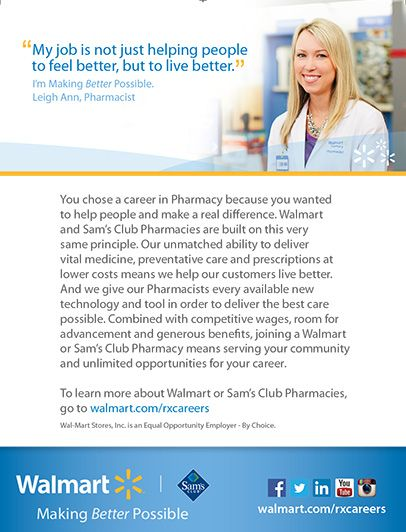Walmart You Chose A Career In Pharmacy Because You Wanted To Help People And Make A Real Difference Walmart And Sam Patient Care Hospital Pharmacy Pharmacy