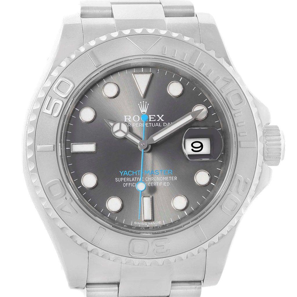 18036 Rolex Yachtmaster Rhodium Dial Steel Platinum Mens Watch 116622 Box Card Swisswatchexpo Rolex Watches For Men Rolex Yacht Master