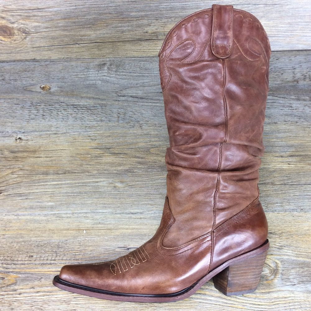 2ae2bf06c07 Details about Steve Madden Cowboy Boots Brown Suede Studded Pull On ...