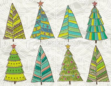 christmas trees on beije crumple background Royalty Free Stock Vector Art Illustration