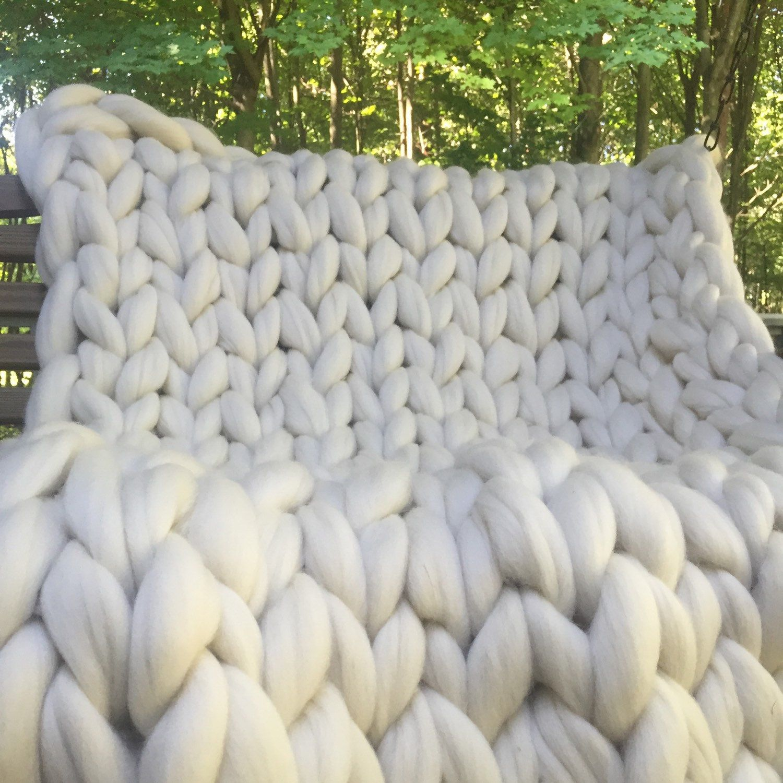 chunky knit blanket, super chunky knit blanket, merino wool blanket