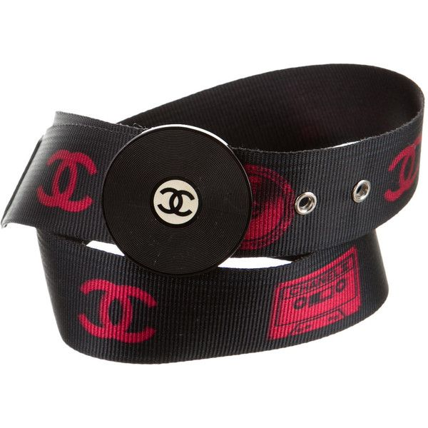 Chanel Record Belt (£275) ❤ liked on Polyvore featuring accessories, belts, red, red braided belt, chanel, red belt, braided belt and woven belt