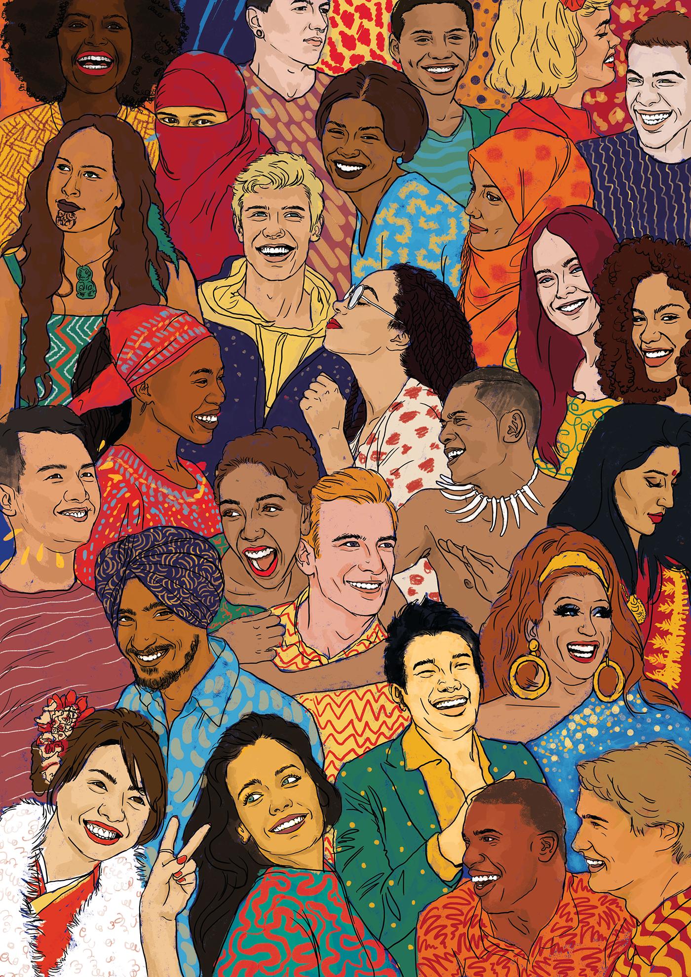 Illustration Diversity Graphic Design Colour Magazine