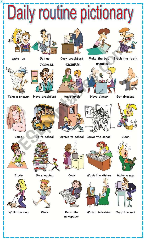 Daily routine pictionary ESL worksheet by mafaldita2009