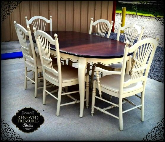 Dining Room Set With Bench Seating Painted Tongue And: Dining Room Table And Chairs Complete. We Love The