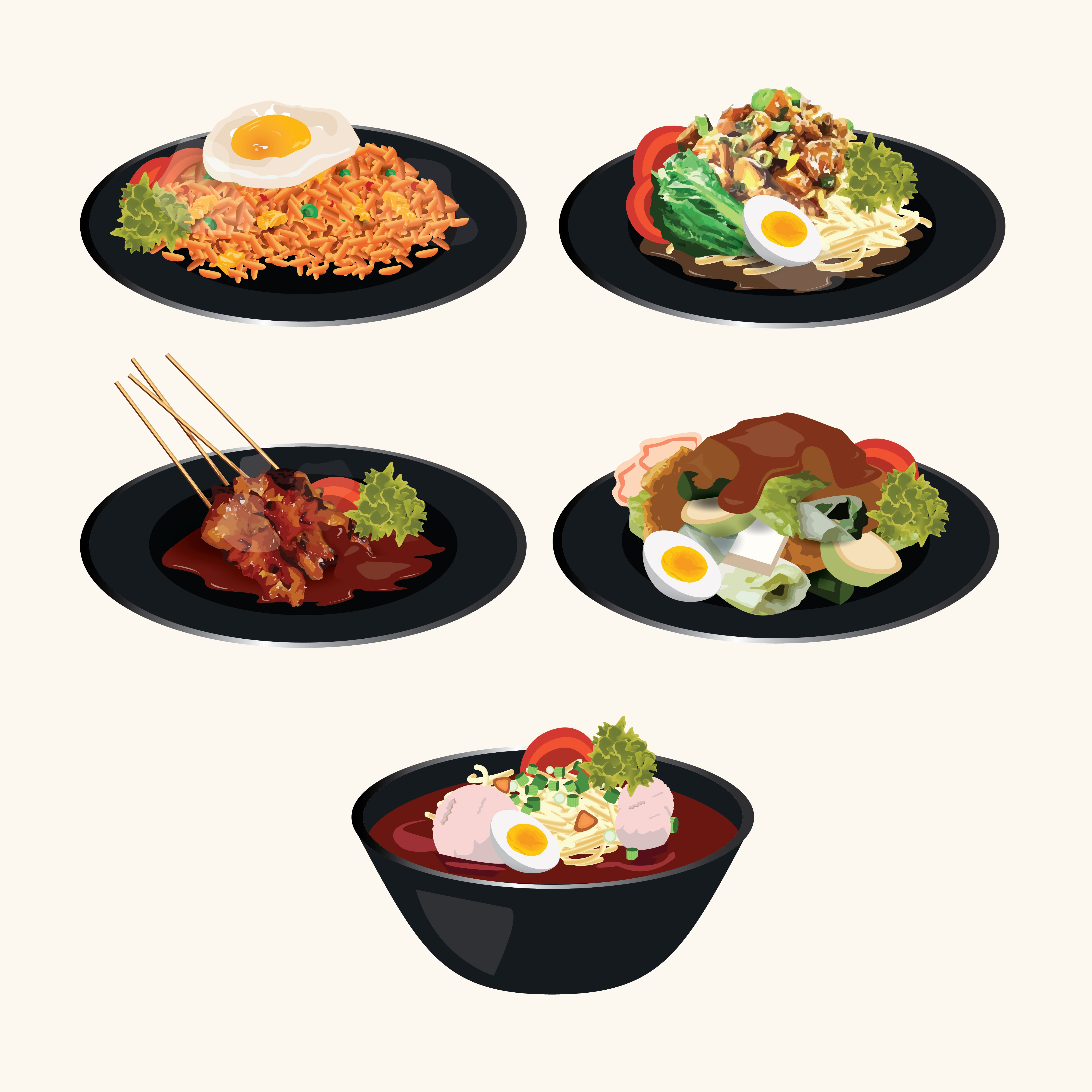 Indonesian Cuisine Famous Food For Indonesian Restaurant Vector
