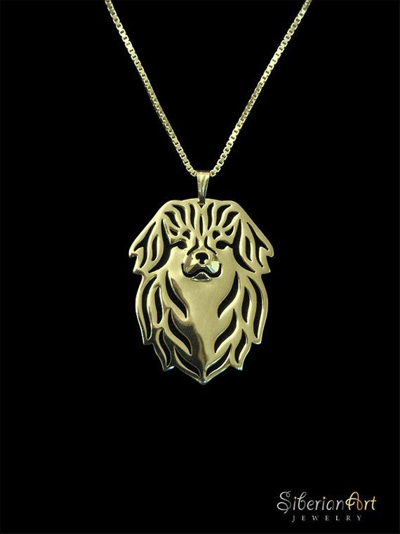 Tibetan Spaniel jewelry Solid Gold pendant and necklace