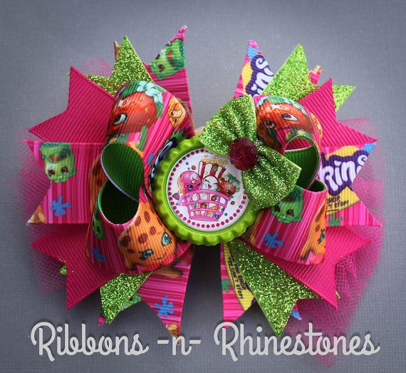 SHOPKINS Boutique Hair Bow Pink and Green by RnRshairbowsandmore