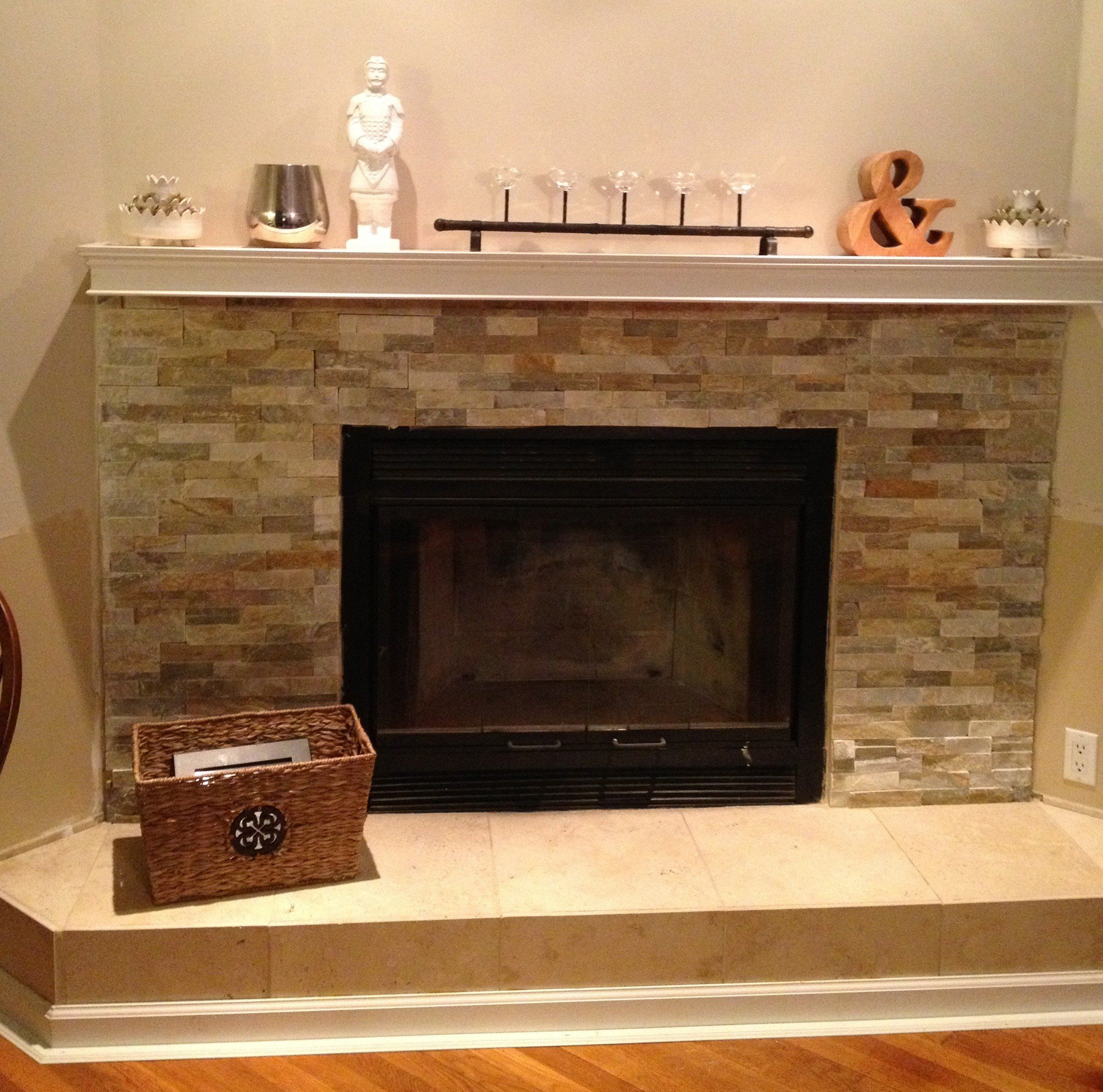 Interior. beige tile Fireplace Base Ideas and grey stone fireplace ...