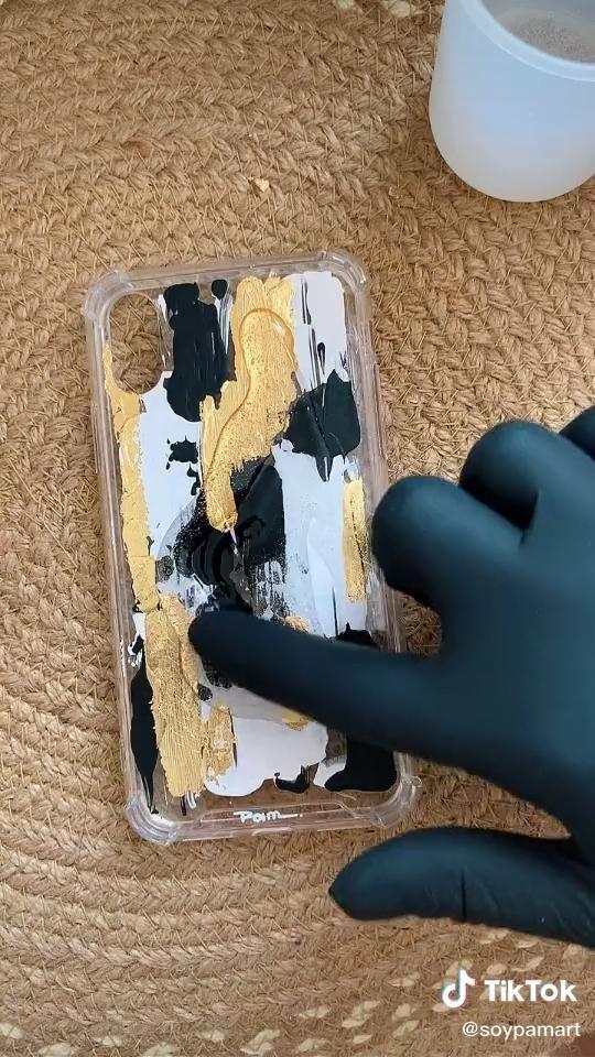 DIY acrylic paint phone case + resin