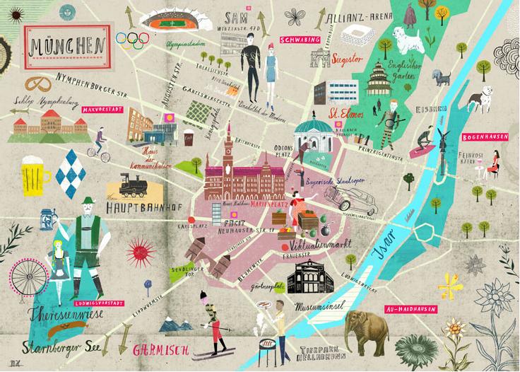Martin Haake Illustration Illustrated Map Munich Germany Travel