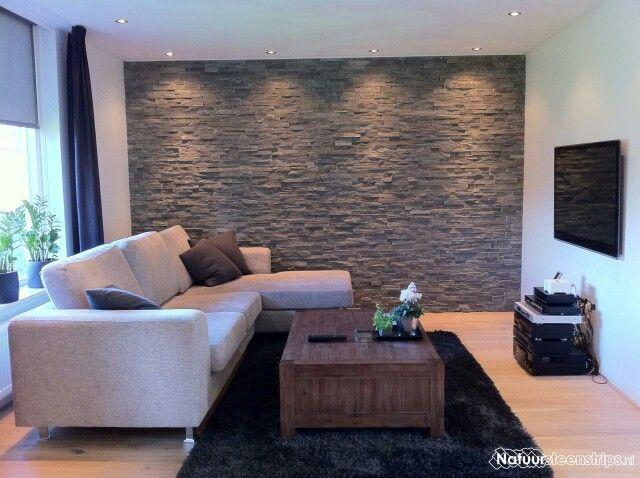 Steenstrip woonkamer steenstrips pinterest voor het huis idee n en muur - Televisie suspendue mur ...
