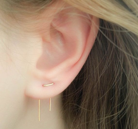 Double Piercing Earrings-Threader Earrings-Double Lobe Earrings-Double Threader Earrings-Double Piercing-Two hole Earrings-Staple Earrings