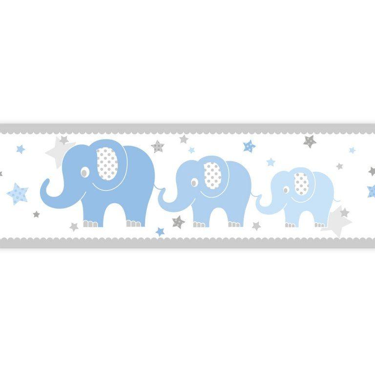 Zimmer Grau Blau: Kinderzimmer Bordüre Elefanten Blau/grau, Selbstklebend